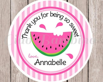 Watermelon Birthday Party Favor Tags or Stickers / Personalized Pink Watermelon Favor Tags / Set of 12