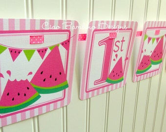 Pink Watermelon Happy Birthday Banner / Watermelon Birthday Party Banner Personalized with Name and Age