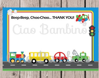 PRINTABLE On the Move Thank You Card / Cars, Trucks, School Bus, Train and Airplane / Transportation / You Print