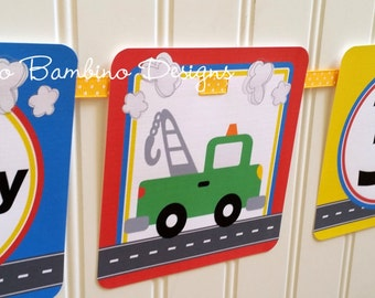 Transportation Birthday Party Happy Birthday Banner / Cars, Trucks, Airplane, Train / On the Move Banner Personalized with Name and Age