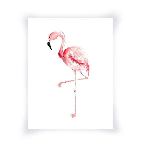pink flamingo watercolor painting print flamingo by wrensroost. Black Bedroom Furniture Sets. Home Design Ideas