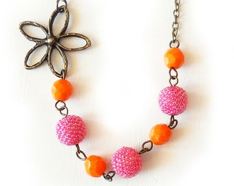 Orange and Pink Glass Beads Necklace - Flower and Beads Necklace - Beadwork Necklace