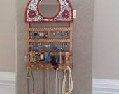 Mosaic mirror topped Earring Holder Jewelry Holder-Bracelet Holder-Necklace Holder-Holds 40-60 pair of earrings