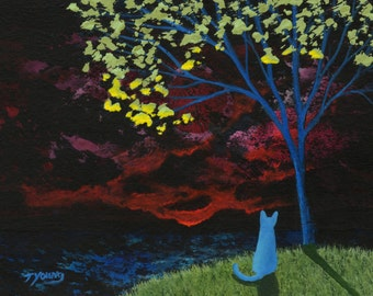 Russian Blue Cat Folk art print of Todd Young painting DUSK