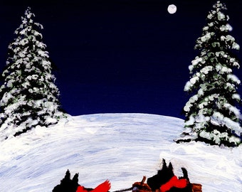 Scottie Dog Winter Folk Art print of Todd Young painting OFF WE GO