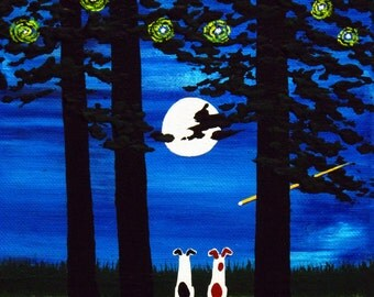 Jack Russell Terrier Dog Outsider Folk art print by Todd Young SUMMER MOON