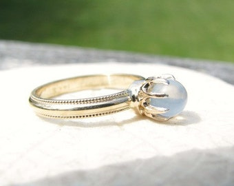 Victorian Moonstone Ring, 14K Gold, Glowy, Dainty and Elegant, Milgrain Details