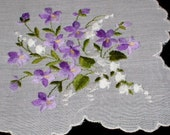 Amazing Purple Lady Slipper Orchids w/ Lily of the Valley Handkerchief Embroidered Hankie
