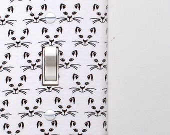 Light Switch Plate Cover, wall decor - white with black cat faces