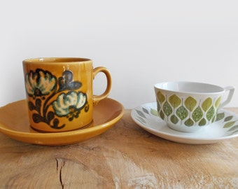 Little Mid Century Cups and Saucers : Spanish Crown, Sphinx Holland. Danish Modern Leaf Design, Small Cups, Espresso Cups, Demi Tasse Cups.