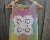 SALE Upcycled blanket dress purple yellow green 4T
