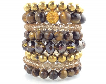 Women's Beaded Bracelets, Tiger Eye Bracelet Set, Bead Bracelets