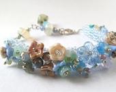 Beadwoven Flower Garden Bracelet with Glass Flowers
