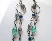 Glass Bead Dangle Earrings Waterfall