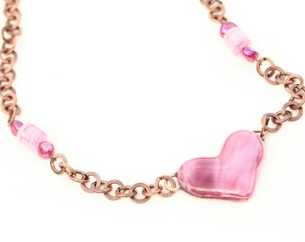 Heart Shaped  Fused Glass Necklace Mixed Media Copper Chain magenta pearl and pink murano glass Beads