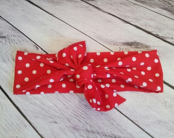 Retro Red & white polka dot womens headband wrap to match your swimsuit