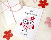 24 Owl Valentines Kids Valentine Cards - Plantable Paper Owls Be Your Friend - Flower Seed Kids Valentines Party Favors Seed Paper Valentine