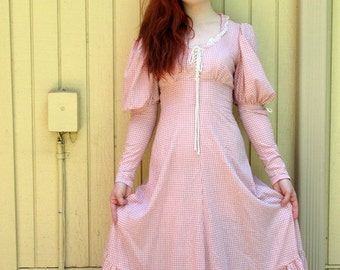 Vintage 70s pink gingham Maxi dress/ Gunne Sax