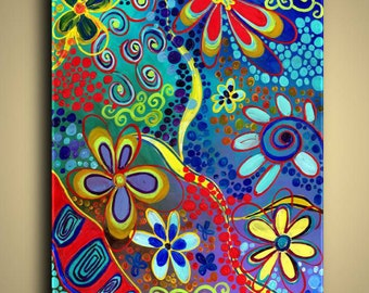 Gallery Canvas and Fine Art Prints Colorful Flower Whimsical Psychedelic Abstract Modern Elena