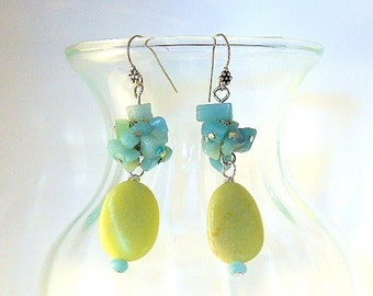 Yellow Earrings, Amazonite Earrings, Chakra Earrings, Yellow Jade Earrings, Cha Cha Earrings, Long Summer Earrings