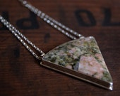 On SALE, Grounded, a Unakite and Silver necklace, triangle, pink green, ooak