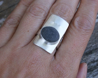 Shore Ring, No2, On SALE, beach pebble and silver