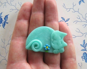 Polymer Clay Translucent Green Happy Sleeping Cat Brooch or Magnet