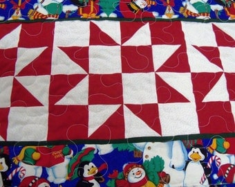 Quilted Table Runner, Christmas Red, with Snowmen