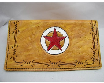 Leather Lone Star- Check Book cover