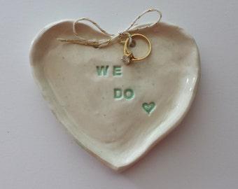 Wedding Ring Dish Heart Shaped Dish We Do Trinket Dish Jewelry Dish Pink In Stock