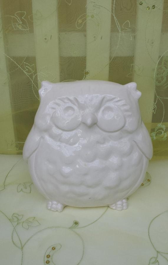 Owl Figurine White Vintage Home Decor