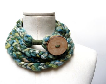 Loop Infinity Scarf Necklace, Crochet Scarflette Neckwarmer - Green, Teal, Olive, Cream multicolor yarn with giant wood button