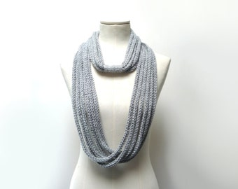 Loop scarf, Infinity scarf, Scarf necklace - Knitted scarlette, neckwarmer - Grey and Silver - Handmade - ENDLESS LOOP