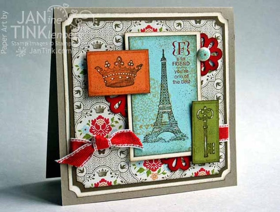 Greeting card f is for friend vintage style thinking of you for Paris orange card