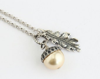 Pale Golden Pearl Acorn Necklace With Antique Silver Oak Leaf Charm, Sterling Silver Chain,Acorn Pendant, Gift For Mom, Gift For Woman