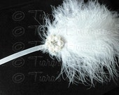 Feather Headband, white marabou feather headband with pearl and rhinestone embellishment, baby photo prop
