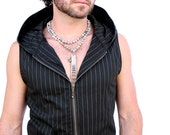 Pacha Play Pinstripe Altair vest- stretch cotton twill hooded mens vest