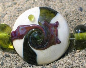 """Handmade Glass Lampwork Beads, """"Ivory/dark Green"""" straight sided lentil, focal, filler, art"""