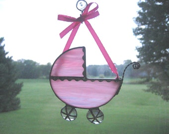 Soft Pink Baby Carriage Ornament, Baby's First Christmas Ornament, Tiffany Style Stained Glass Baby Carriage