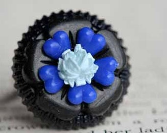 Midnight Blue Flower Adjustable Ring