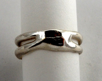 Coupon Code CLEARANCE40 - Free Form Sterling Silver Ring - One of a Kind - Size  7 1/5