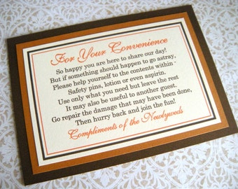 5x7 Flat For Your Convenience Bathroom Basket Sign Package for Wedding Guests - Shimmery Brown, Burnt Orange, Cream - Fall Wedding