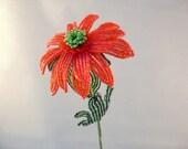 French beaded flower, cheerful orange daisy