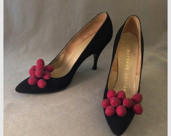 Stunning 50s Herbert Levine Black Cherry, Berry Black Suede Stiletto Pumps, Great Size and Condition
