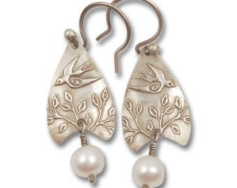 Swallow Earrings - Bird Earrings - Sterling Silver and Pearls