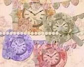 Buy 1 Get 1 FREE Shabby Time - Rose Vintage Clock - Banner Cluster Graphics - INSTANT Download