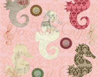 Buy 1 Get 1 FREE Vintage Seahorse Shabby Chic French Ephemera Digital Collage INSTANT Download