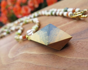 Long Lignum Vitae Wooden Geometric Pendant Necklace -  Funky Wood Jewelry - Hippy Boho Fall Autumn - OOAK Natural Beige Brown Green Yellow
