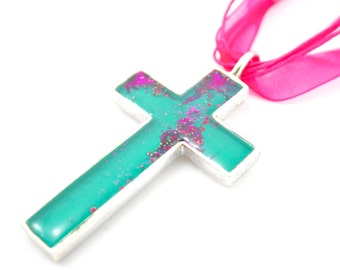 Christian Jewelry Cross Necklace Abstract Design Green Hot Pink Catholic Cross Inspirational Jewelry