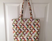 LARGE TOTE BAG Retro Mod Polynesian Tiki Hawaiian mcm Purse Handbag Canvas